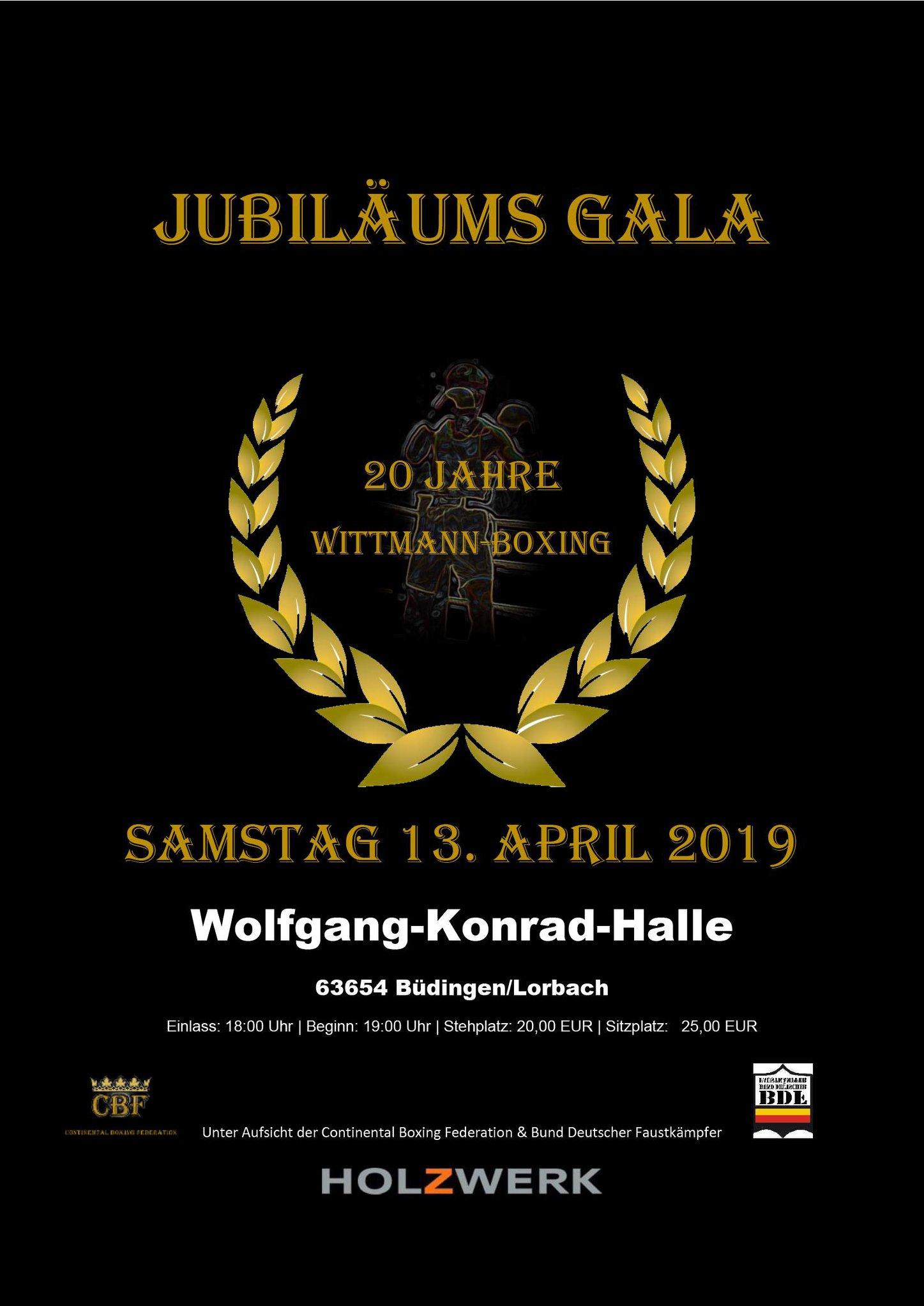 Jubläums Gala 20 Jahre Wittmann-Boxing am 13 April 2019