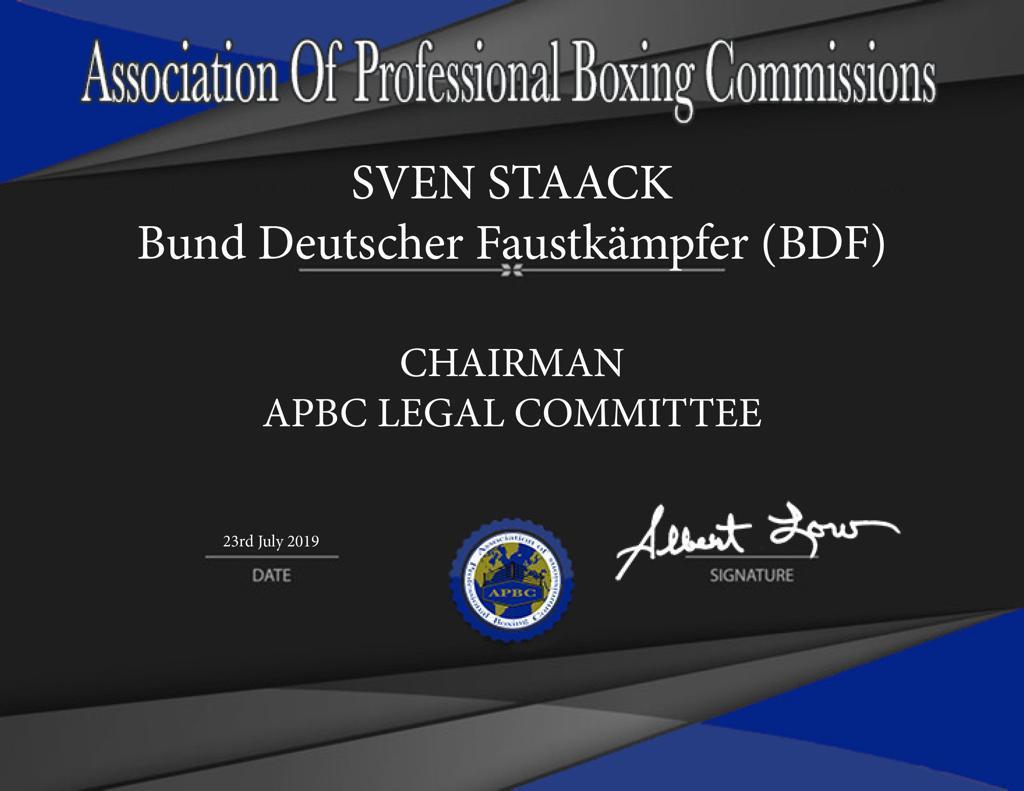Neuer Vorsitzender des Rechtsauschuss APBC